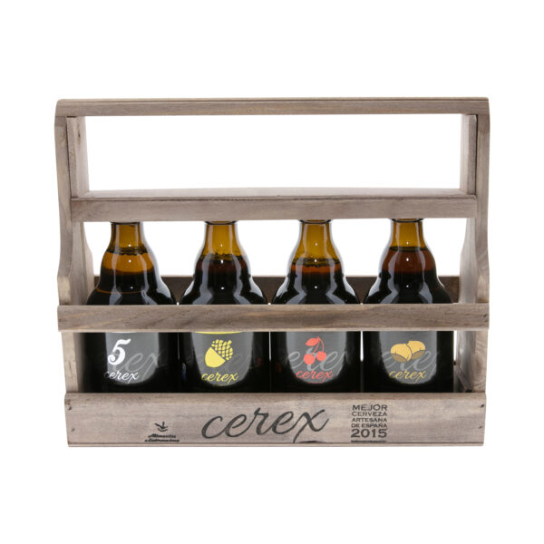 Cerveza cerex caja madera 4 sabores