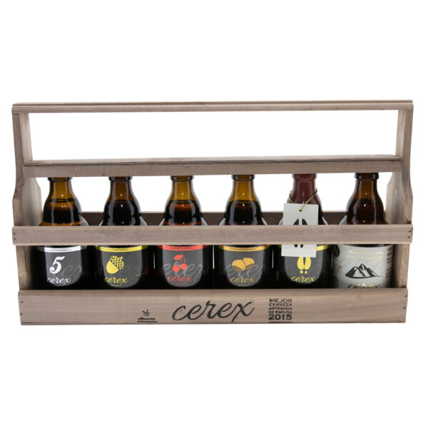 Cerveza cerex caja madera 6 sabores