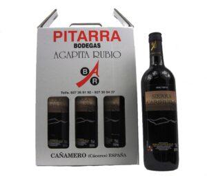 Vino estuche pitarra 3 botellas sierra carihuela tinto